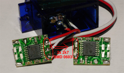 Elektronika serva TG9e upravená pro kontinuální otáčení